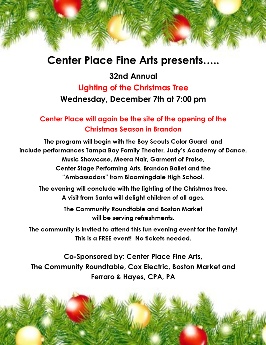 Lighting of the Christmas Tree at Center Place - The Community ...